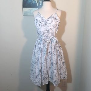 Blue and white floral sun dress.
